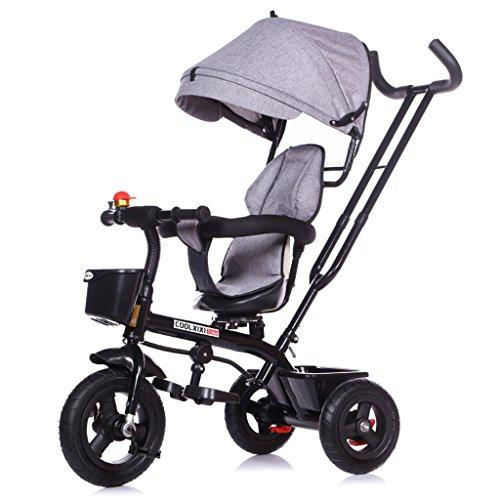 Portable Children's Tricycle Carbon Steel Frame Bicycle 1-5 Years Old Shock Absorber Titanium Empty Wheel Baby Stroller Front And Rear Baskets Rotary Seat Sunshade Awning Baby Carriage Shock absorber