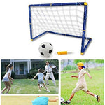 Portable Folding Children Football Goal Door Set Football Gate Outdoor Sports Toys Kids Soccer Door Set Cool Gifts Large Size Kids Sports Soccer Goals with Soccer Ball and Pump