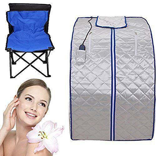 Portable Infrared Sauna XL Deluxe 1000 Watt FIR FAR Infrared Sauna with Heating Food Pad and Chair