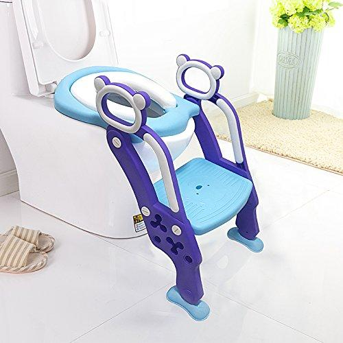 Potty Training Seat,LADUO Toilet Training Seat with Non-Slip Step Stool Ladder for Toddlers,Kids and Baby, Adjustable Potty Seat with Step,Toilet Seat Chair