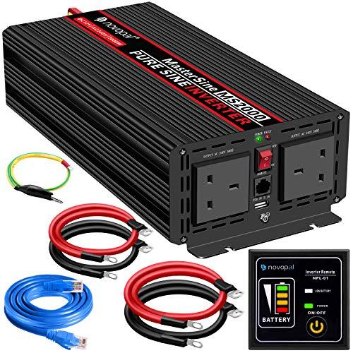 Power Inverter Pure Sine Wave-2000 Watt 12V DC to 230V/240V AC Converter-2AC Outlets Car Inverter with One USB Port-5 Meter Remote Control And Two Cooling Fans-Peak Power 4000 Watt