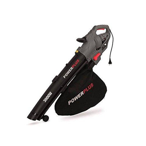 Powerplus 3000w 230v Leaf Blower/Vacuum/Shredder with 35 Litre Grass Collection Bag, Shoulder Strap & Double Wheel Support POWEG9010 - 2 Years Warranty
