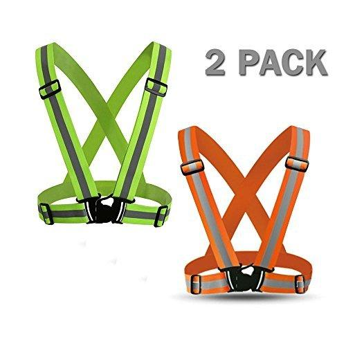 Powertiger 2 Pack Reflective Vest Lightweight, Adjustable & Elastic Safety & High Visibility for Running, ogging,Walking,Cycling Fits over Outdoor Clothing - Motorcycle Jacket Gear (Orange Green)
