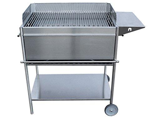 Premio XL Stainless Steel Sleek Design Charcoal Barbecue with Wheels Front Panel