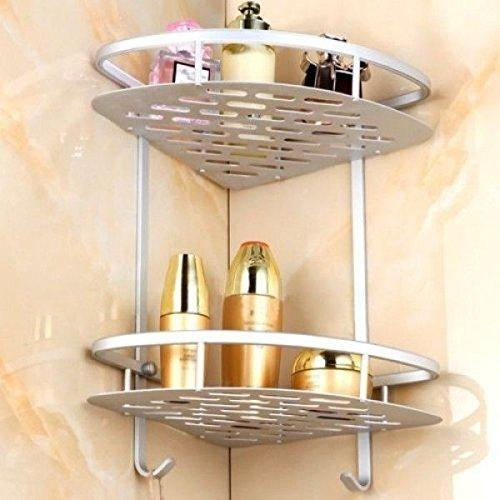 Premium 2 Tier Aluminum Bathroom Shelf Corner Shower Rack Organiser Caddy Shampo