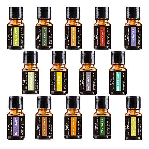 Premium Aromatherapy Essential Oil Set 14-10ml 100% Pure Therapeutic Grade includes Frankincense, Lavender, Peppermint, Rosemary, Sweet Orange, Tea Tree, Eucalyptus, Grapefruit, Lemon, Patchouli, Sandalwood, Ylang Ylang, Lemongrass, Bergamot