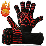 "Premium Grilling BBQ Gloves Set of 2-Up To 500 °C Oven Gloves Cooking Gloves Mitts Heat Fire Resistant for Kitchen Barbecues Poly,Cooking,Baking and Welding ( 1 Pair 14"")"
