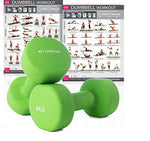 Premium quality dumbbells for women and men, sold as a set of 2 (BONUS A3 WORKOUT POSTER) Ideal for home weights workout (Bright Green (2) x 6 Kg) Neoprene coated