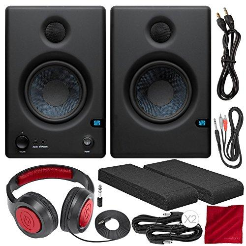 "PreSonus Eris E4.5 4.5"" 2-Way Powered Nearfield Studio Monitors (Pair) with Monitor Isolation Pads, Samson Closed-Back Stereo Headphones, and Platinum Bundle"