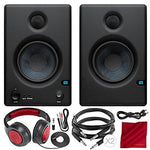"PreSonus Eris E4.5 4.5"" 2-Way Powered Nearfield Studio Monitors (Pair) with Samson Closed-Back Stereo Headphones and Deluxe Bundle"
