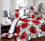 Prime Linens 3D 4 PIECES COMPLETE BEDDING SET INCLUDES 1 DUVET COVER/QUILT COVER 1 FITTED SHEET 2 OXFORD STANDARD PILLOW CASES (Poppy Rose - 289, Super King)