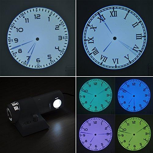 Princeway Innovative Powerful 5W LED Analogue Projection Clock- Focusing Adjustable and Brightness Dimmable LED Gobo Light- Prepared Digital Dial, Roman Dial and 4X Colorful Filters- Power by UK Power Adapter (White)