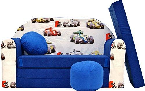 Pro Cosmo C22 Kids Sofa Bed with Pouffe/Footstool/Pillow, Fabric, Blue, 168 x 98 x 60 cm