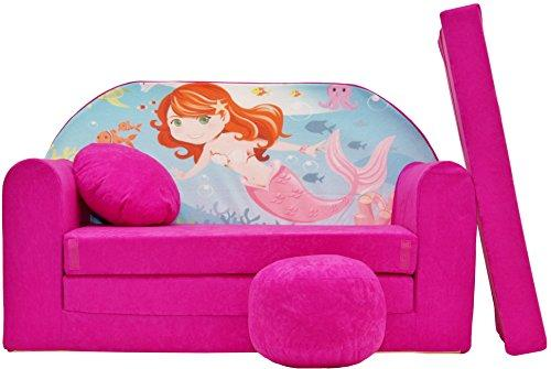 Pro Cosmo H4 Kids Sofa Bed Futon with Pouffe/Footstool/Pillow, Fabric, Pink, 168 x 98 x 60 cm, Cotton