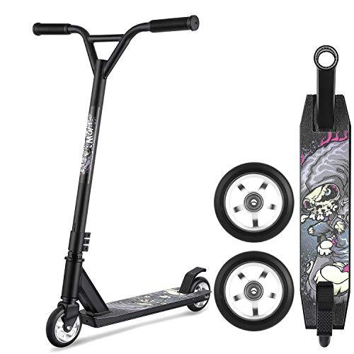 Pro Stunt Scooter for Boys Girls up to 5.5ft, Folding 2 Wheel Scooter withT-bar & 360 Spin Tricks Edition & Wide Handlebars, Sturdy Freestyle Kick Scooter (Black)