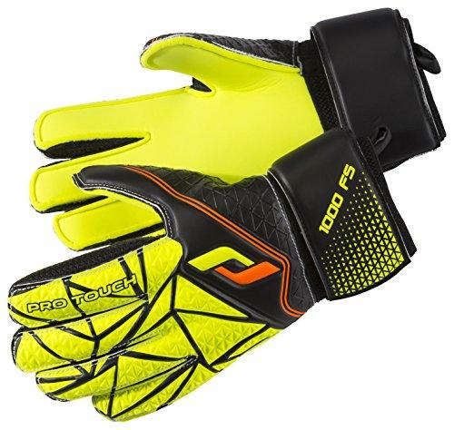 Pro Touch Kids' Force 1000 FS Goalkeeper Gloves, Black/Yellow/Orange, Size 7