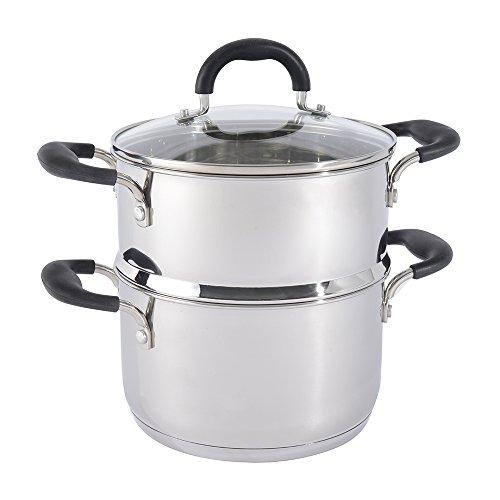 ProCook Gourmet Stainless Steel Induction Stockpot with Steamer Insert Set 20cm / 1 Tier