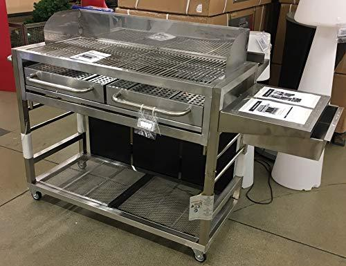 PROFI Professional BBQ Stainless Steel Charcoal Barbecue 184 x 104 x 94 cm. Barbecue trolley 2Wahl