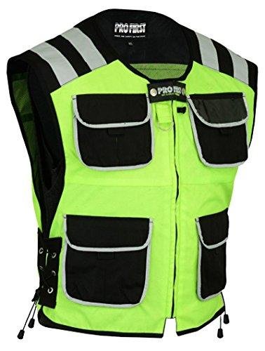 PROFIRST Mens Hi Vest Motorbike Hi Viz Waterproof Motorcycle Hi Vis Waistcoat Jacket High Visibility - X-Large Yellow