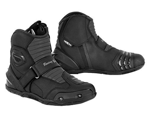 PROFIRST Nextek Genuine Leather Motorbike Armoured Boots Motorcycle Short Ankle Protection Boot Shoes Anti Slip Racing Sports Reflector | Full Black, UK 10 / EU 44