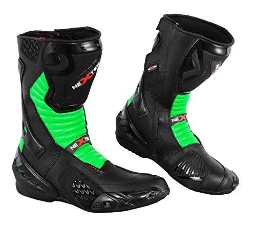 PROFIRST Nextek Genuine Leather Motorbike Boots Armoured Motorcycle Long Ankle Protection Boot Shoes Anti Slip Racing Sports | Green & Black, UK 12 / EU 46