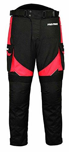 PROFIRST TR-001 | CE Approved Armoured Motorbike Motorcycle Trouser Pant Waterproof - Removable Lining - Big Pocket Design - Long Length Inside Leg 32 Inch (Black & Red, Small 30 Waist)