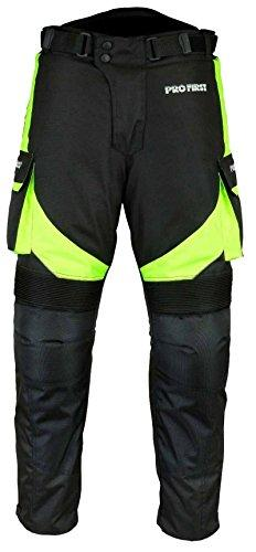 PROFIRST TR-001 | CE Approved Armoured Motorbike Motorcycle Trouser Pant Waterproof - Removable Lining - Big Pocket Design - Short Length Inside Leg 29 inch (Black & Green, X-Large 36 Waist)