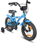 "PROMETHEUS Kids bike 14 inch Boys and Girls in Blue & Black with stabilisers | Aluminum Calliper brake and backpedal brake | including security package | as from 4 years | 14"" BMX Edition 2018"