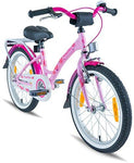 "PROMETHEUS Kids bike 18 inch Girls in pink purple & white with alloy kickstand and carrier rack | Aluminum V-brake and backpedal brake | including security package | as from 6 years | 18"" Classic Edition 2018"