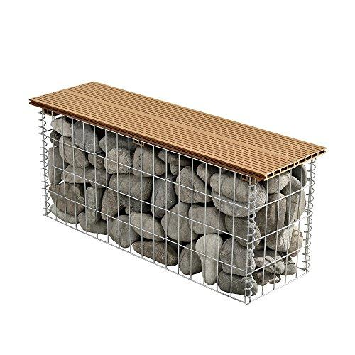 [pro.tec] WPC gabion bench seat stone basket wire netting wire mesh wood seat garden bench galvanized /100x30x5 cm teak wood light brown
