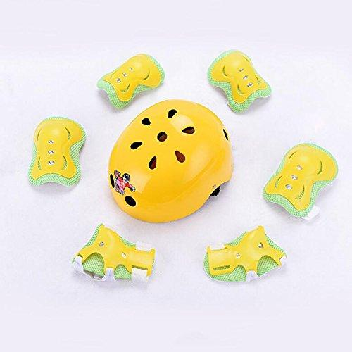 Protective Gear CJC Men And Women Child Roller Skating Helmet Skateboard Ice Skates Cycling Knee Pads 7 Pieces/sets (color : 3, Size : S)