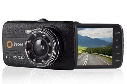 "Proze Dash Cam 4.0 Car Camera 170° Wide Angle Dual Dashboard Cam with Front and Rear Camera 4"" HD Screen 1080P Full HD DVR G Sensor Enhanced Night Vision IR Lights Loop Recording Motion Detection Parking Monitor Rear 120° Camera"