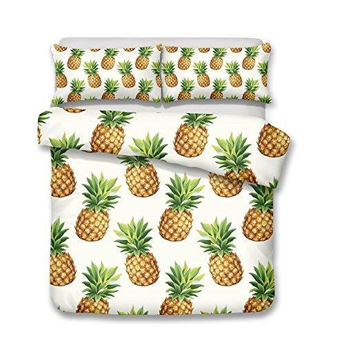 Pterygoid Collection Very Soft Fabric Quilt Kid Duvet Cover Set Pineapple Design Couple Bedding Sets Include Duvet Cover Pillowcases in Single Queen King Size
