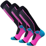 Pure Athlete Ski Socks for Men and Women - Striped Warm Merino Wool Skiing, Snowboard Winter Sock - Midweight, Shin Padding (M, 3 Pack - Black/Aqua/Neon Pink)