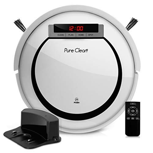 Pure Clean Automatic Programmable Robot Vacuum Cleaner-Scheduled Activation & Charge Dock Robotic Auto Home Clean Carpet Hardwood Floor, HEPA Pet Hair & Allergies Friendly, PUCRC90UK