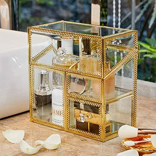 PuTwo Makeup Organiser Glass Vintage Cosmetic Organiser Brass Vanity Storage Transparent Cotton Pads Organiser Dustproof Makeup Brush Holder with Free Pearls for Dresser Vanity Countertop - Gold