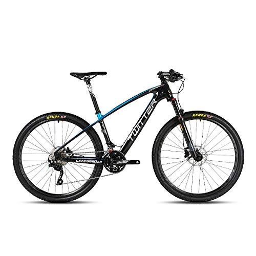 "PXQ Adults Mountain Bike Carbon Fiber SHIMANO M7000-33 Speeds Off-road Bike with Air Pressure Shock Absorber and Front Fork Oil Brake Bicycles 26/27.5Inch,Blue,26""*15.5"""