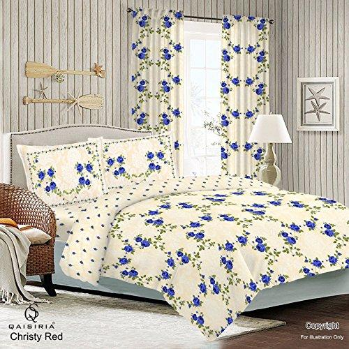 QAISIRIA - CHRISTY BLUE - 4PCS COMPLETE BEDDING SET - DUVET COVER WITH FITTED SHEET & 2 x PILLOW CASES (Super King)