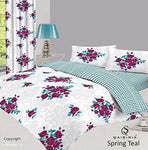 QAISIRIA - SPRING - 4PCS COMPLETE BEDDING SET - DUVET COVER WITH FITTED SHEET & 2 x PILLOW CASES - ALL SIZES (Super King, Teal)