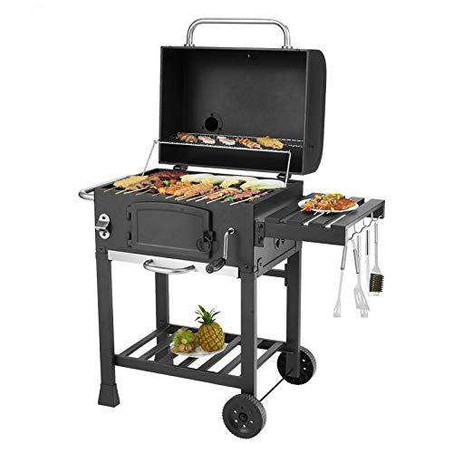 QHGao Charcoal Grill Portable Barbecue, Outdoor Backyard Cooking With Roller, Household Carbon Grilled For More Than 5 People Bbq Rack Bbq Outdoor Barbecue Charcoal Stove (2 Sets)