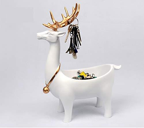 qianyue Tabletop Deer Decor Freestanding Accent Statue Creative Art Phone/Controller / Key/Candy Holder Organizer Deer Statue for Console Table, TV Stand, Counter top and Dining Table Great Gift