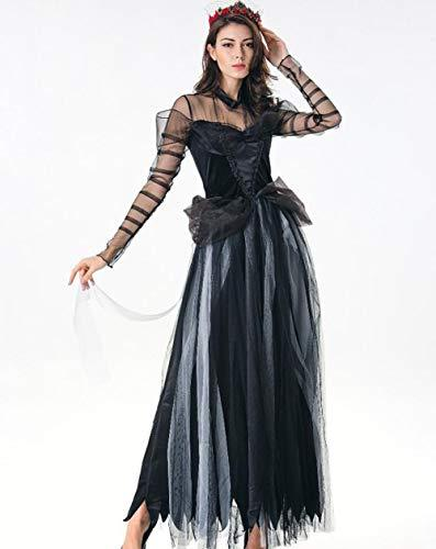 qiongqiong halloween zombie dress costume mesh long skirt ghost bride role playing photo stage costume black