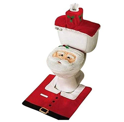 QSM Christmas Decoration, Santa Claus, Toilet Seat Cover And Carpet And Tissue Box Set Gift,White red,A