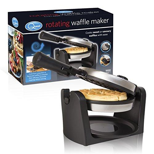 Quest 35960 Rotating Waffle Maker Iron, Stainless Steel, 1000 W, Silver