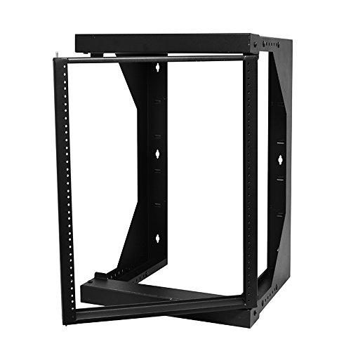 "Quest Manufacturing Swing-Out Open Frame Wall Rack, 12 Unit, 2' x 18""-26"" x 26""D, Black (SR1921-12-02)"