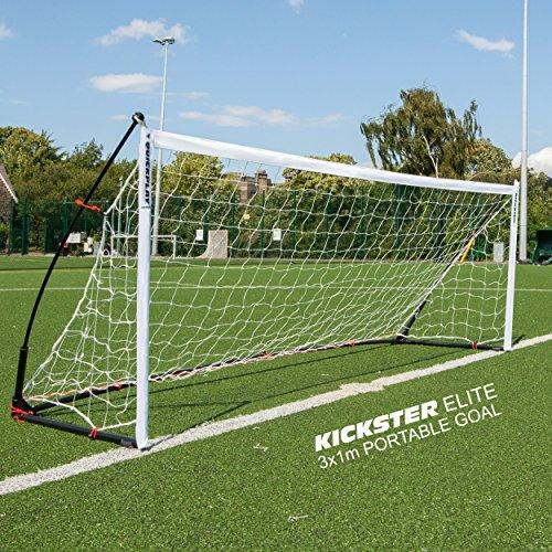 QUICKPLAY Kickster Elite Football Goal 3x1M - Ultra Portable Indoor & Outdoor Football Goal Features Weighted Base [Single Goal]