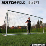 QUICKPLAY PRO Match-Fold Portable Football Goal Range with Carry Bag [Single Goal] Quick setup folding football goal (16x7' / 5 x 2m)