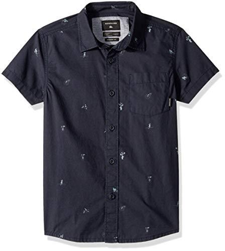 Quiksilver Boys' Mini Kamakura Short Sleeve Youth Woven Button Down Shirt, Blue Night Mo, 8 US