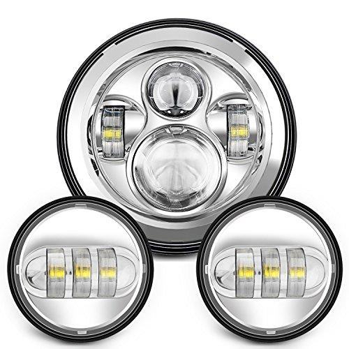 "QXXZ 7 Inch Chrome Harley Daymaker LED Headlight+ 2X 4-1/2"" Fog Light Passing Lamps For Harley Davidson Motorcycle"