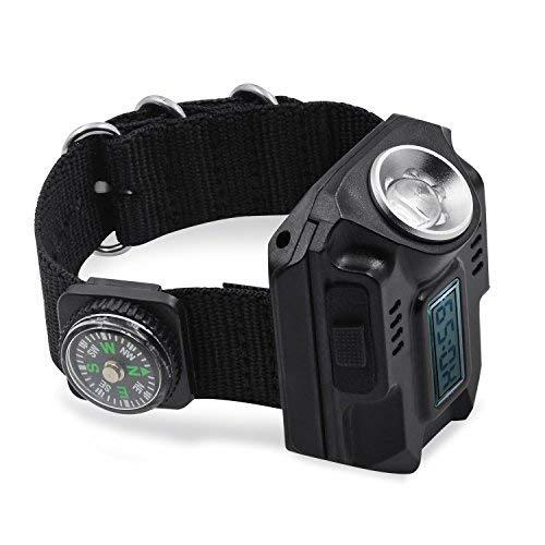 R5 Watch Flashlight 4 Mode LED Watch Rechargeable Wrist Lamps Lantern Waterproof with Compass SOS Signal for Camping Hiking Outdoor Survival Equipment